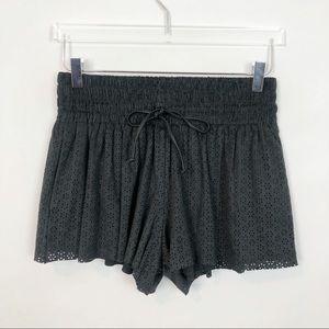 Zara Faux Suede Floral Cutout Shorts Gray S